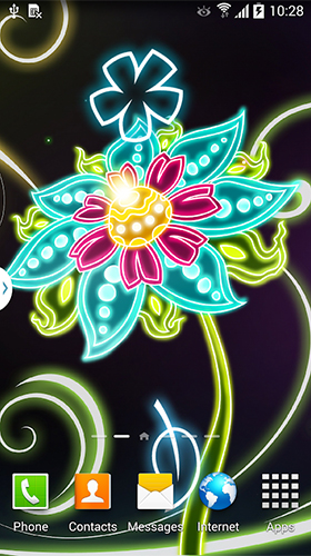 Neon flowers by Live Wallpapers 3D - baixar grátis papel de parede animado Fantasia para Android.