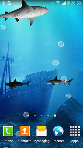 Captura de tela do Sharks 3D by BlackBird Wallpapers em telefone celular ou tablet.