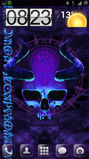 Captura de tela do Mystical skull em telefone celular ou tablet.