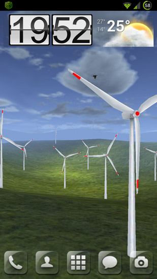 Captura de tela do Wind turbines 3D em telefone celular ou tablet.